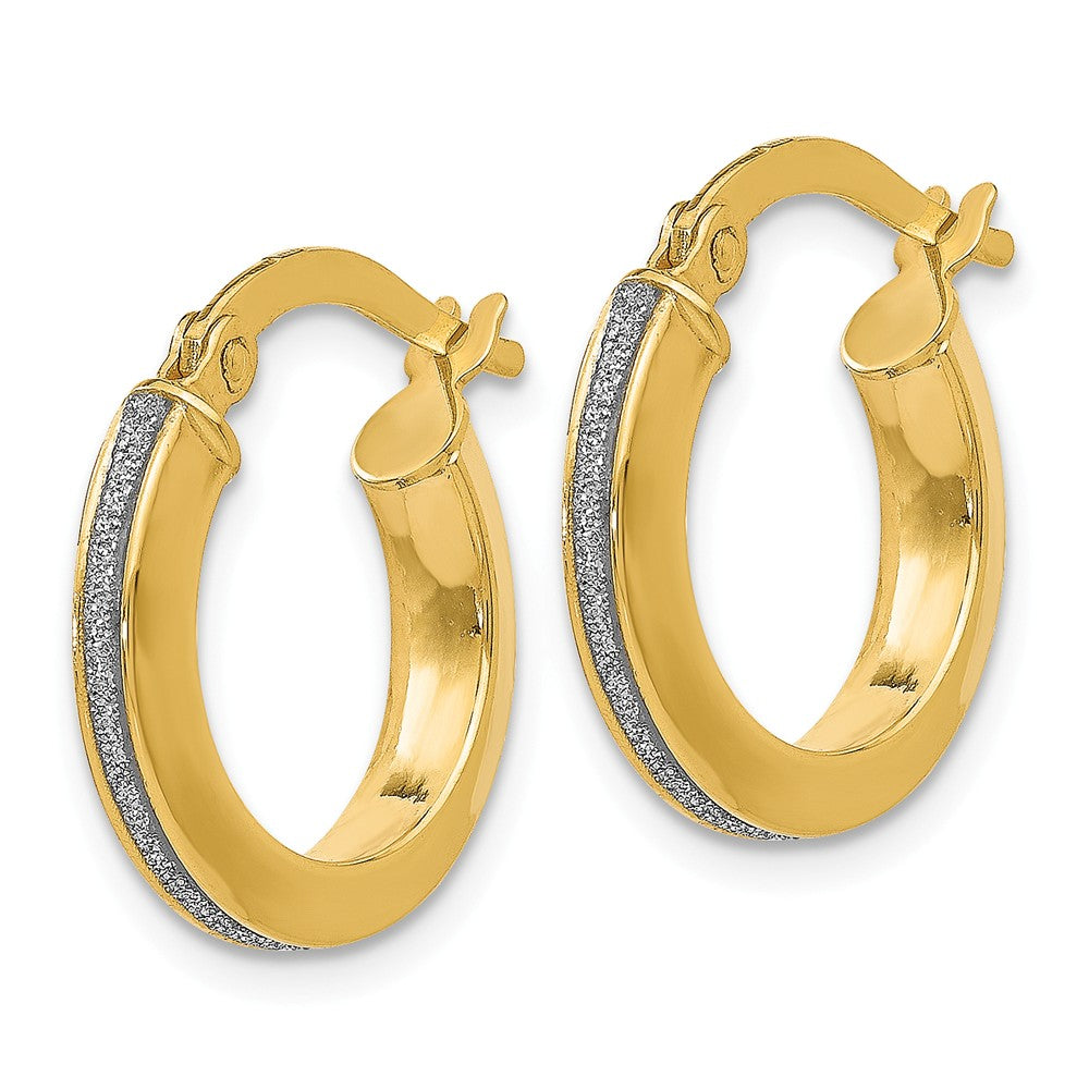 Alternate view of the 3mm Glitter Infused Round Hoop Earrings in 14k Yellow Gold, 14mm by The Black Bow Jewelry Co.