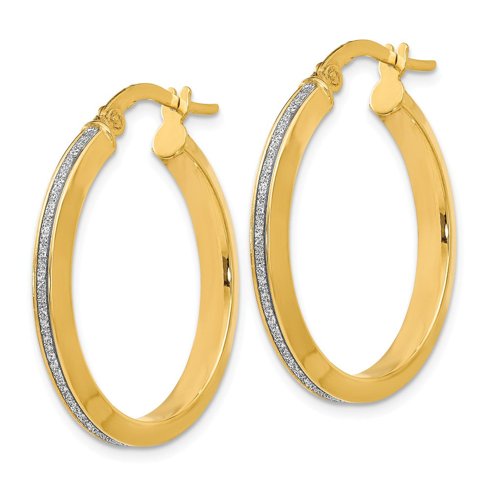 Alternate view of the 3mm Glitter Infused Round Hoop Earrings in 14k Yellow Gold, 24mm by The Black Bow Jewelry Co.
