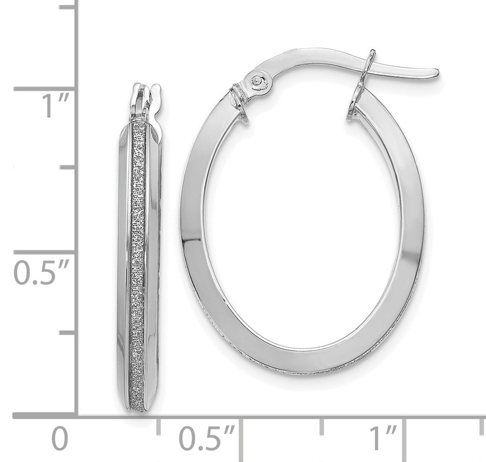 Alternate view of the 3mm Glitter Infused Oval Hoops in 14k White Gold, 24mm (15/16 Inch) by The Black Bow Jewelry Co.
