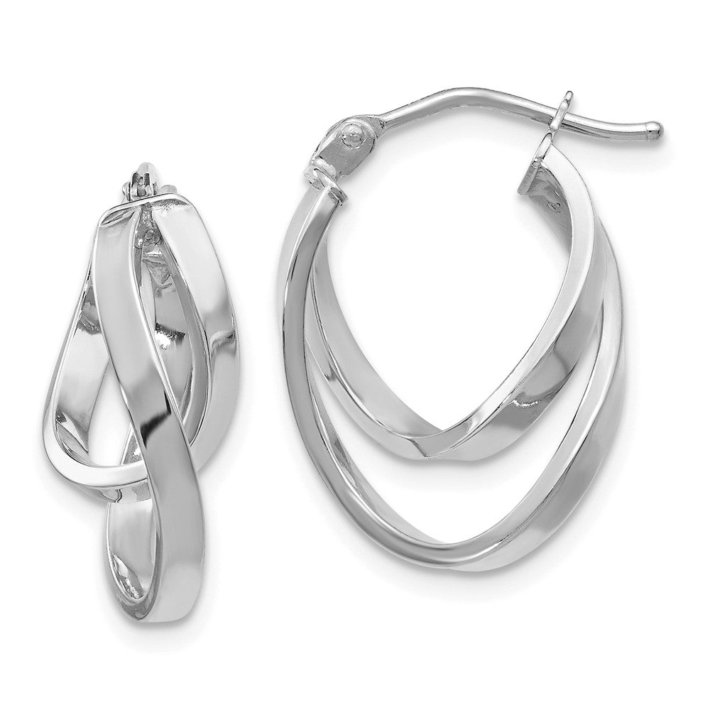 14k White Gold Double Freeform Hoop Earrings, 17mm (5/8 Inch)