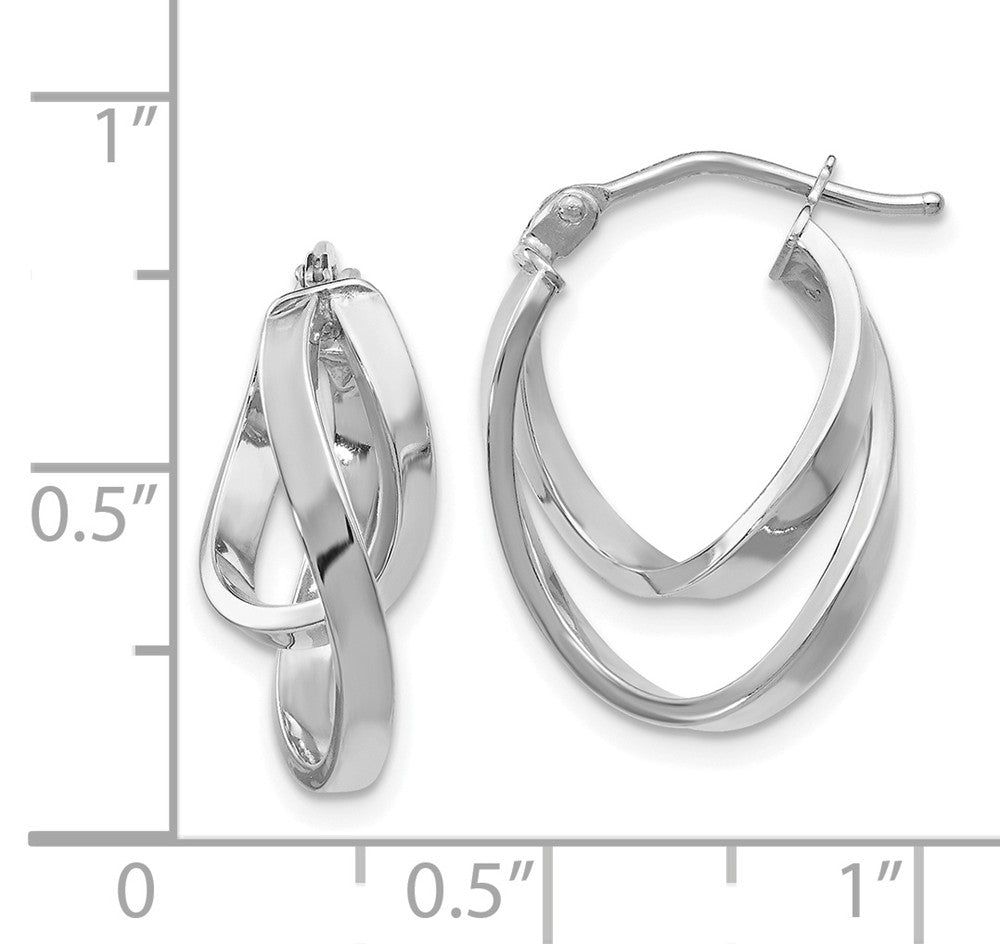 Alternate view of the 14k White Gold Double Freeform Hoop Earrings, 17mm (5/8 Inch) by The Black Bow Jewelry Co.