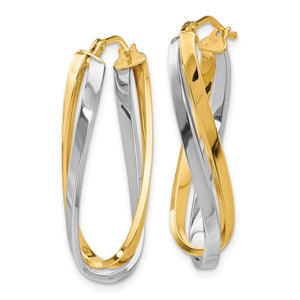 Alternate view of the Polished Twisted Double Oval Hoop Earrings in 14k Two Tone Gold, 30mm by The Black Bow Jewelry Co.