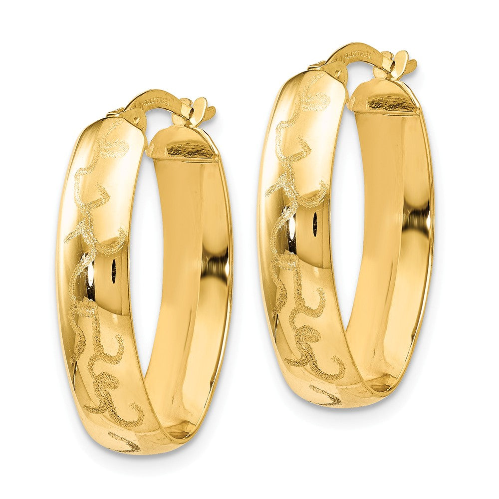 Alternate view of the 5mm Laser Etched Oval Hoop Earrings in 14k Yellow Gold, 23mm by The Black Bow Jewelry Co.