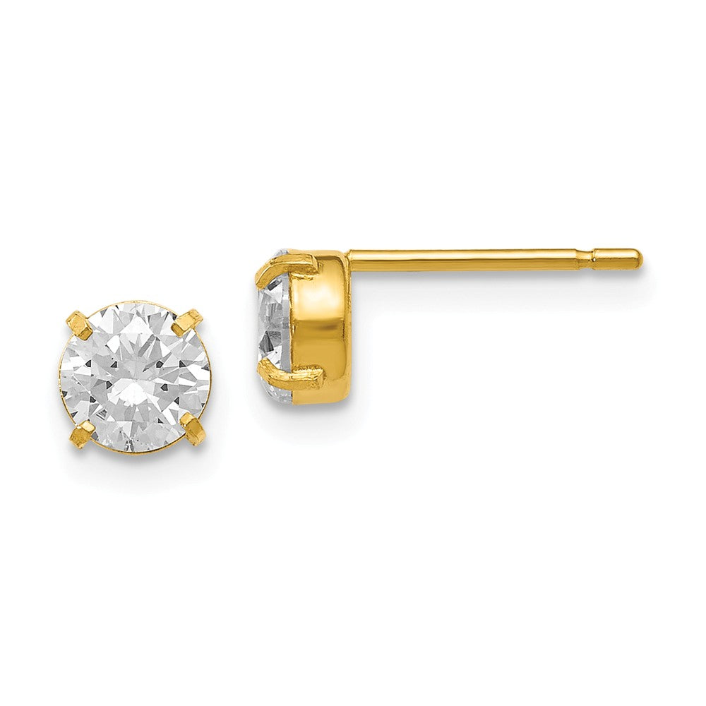 5mm Cubic Zirconia Stud Earrings in 14k Yellow Gold, Item E12410 by The Black Bow Jewelry Co.