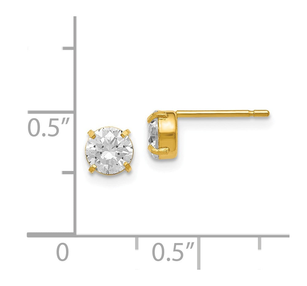 Alternate view of the 5mm Cubic Zirconia Stud Earrings in 14k Yellow Gold by The Black Bow Jewelry Co.