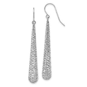 Long Cutout Teardrop Dangle Earrings in 14k White Gold, 51mm (2 Inch)
