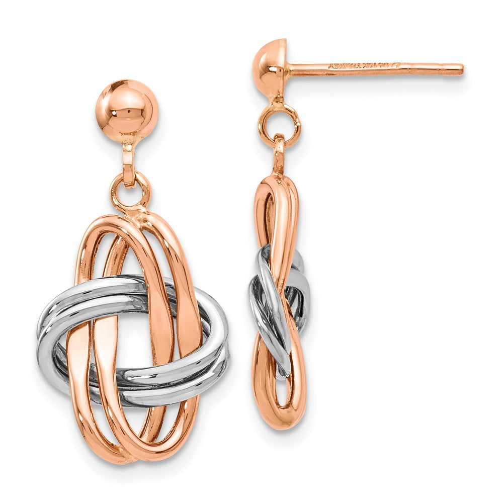 14k Rose and White Gold Double Knot Post Dangle Earrings, Item E12464 by The Black Bow Jewelry Co.