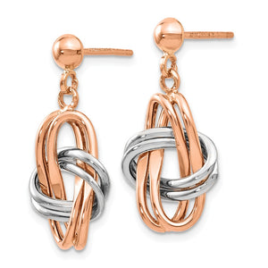 Alternate view of the 14k Rose and White Gold Double Knot Post Dangle Earrings by The Black Bow Jewelry Co.