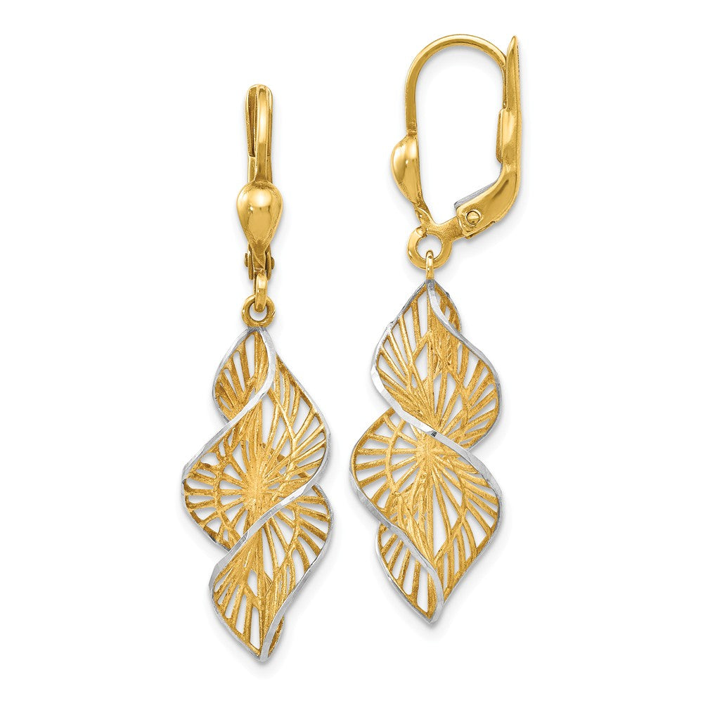 Two Tone Spiral Dangle Earrings in 14k Yellow Gold & White Rhodium, Item E12466 by The Black Bow Jewelry Co.