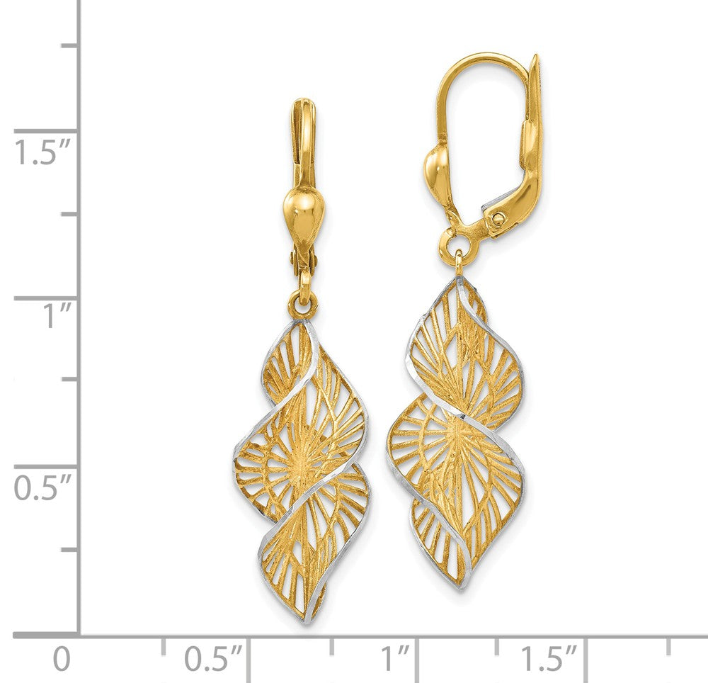 Alternate view of the Two Tone Spiral Dangle Earrings in 14k Yellow Gold & White Rhodium by The Black Bow Jewelry Co.