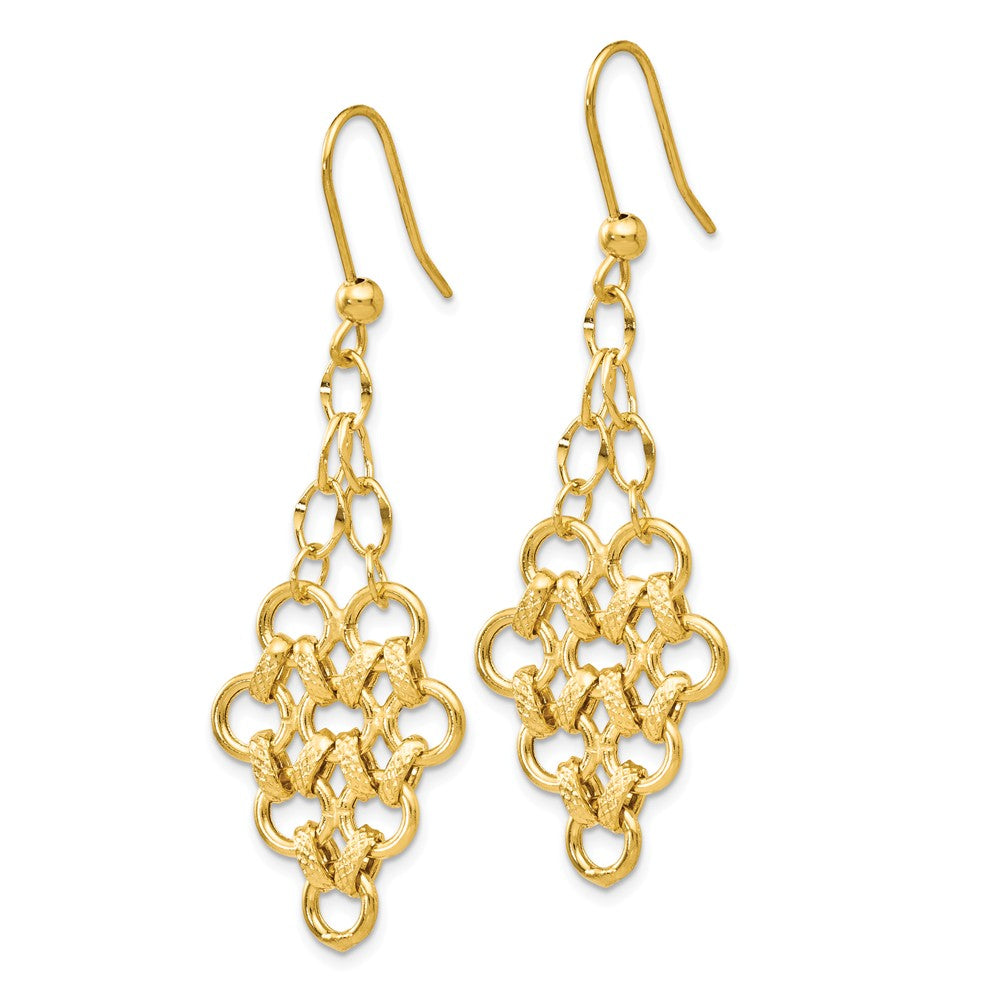 Alternate view of the Diamond Cut & Polished Chandelier Dangle Earrings in 14k Yellow Gold by The Black Bow Jewelry Co.