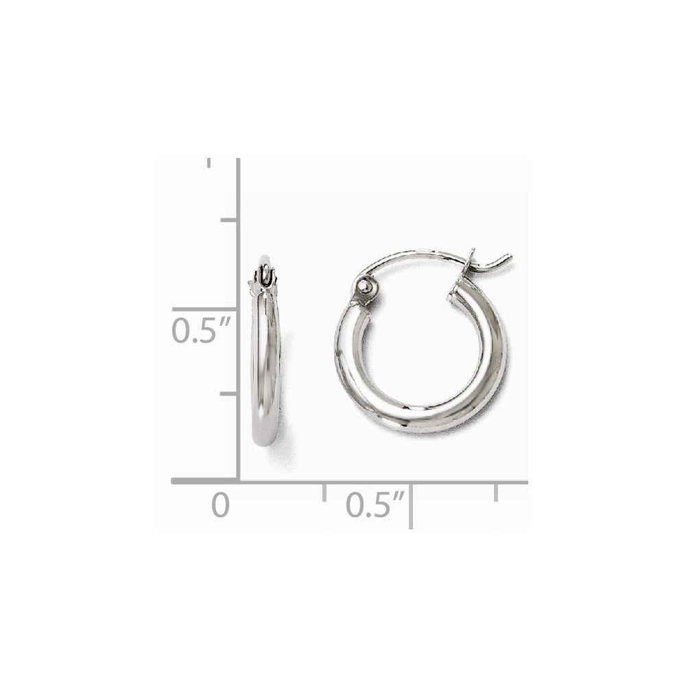 Alternate view of the 2mm Round Hoop Earrings in 10k White Gold, 13mm (1/2 Inch) by The Black Bow Jewelry Co.