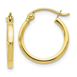 1.5mm Square Tube Round Hoops in 10k Yellow Gold, 15mm (9/16 Inch) - The Black Bow Jewelry Co.