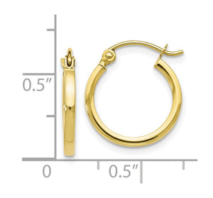 Alternate view of the 1.5mm Square Tube Round Hoops in 10k Yellow Gold, 15mm (9/16 Inch) by The Black Bow Jewelry Co.