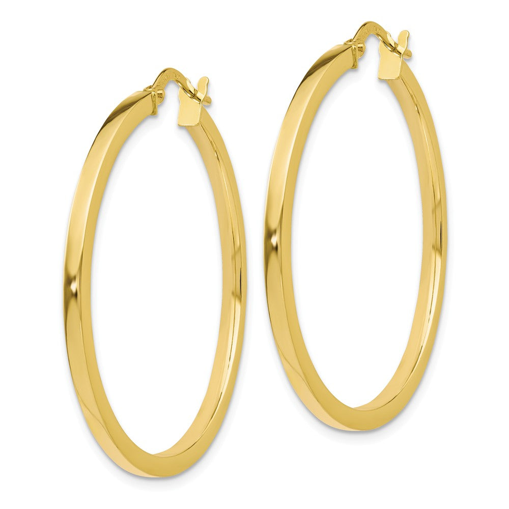 Alternate view of the 2mm Square Tube Round Hoop Earrings in 10k Yellow Gold, 34mm by The Black Bow Jewelry Co.