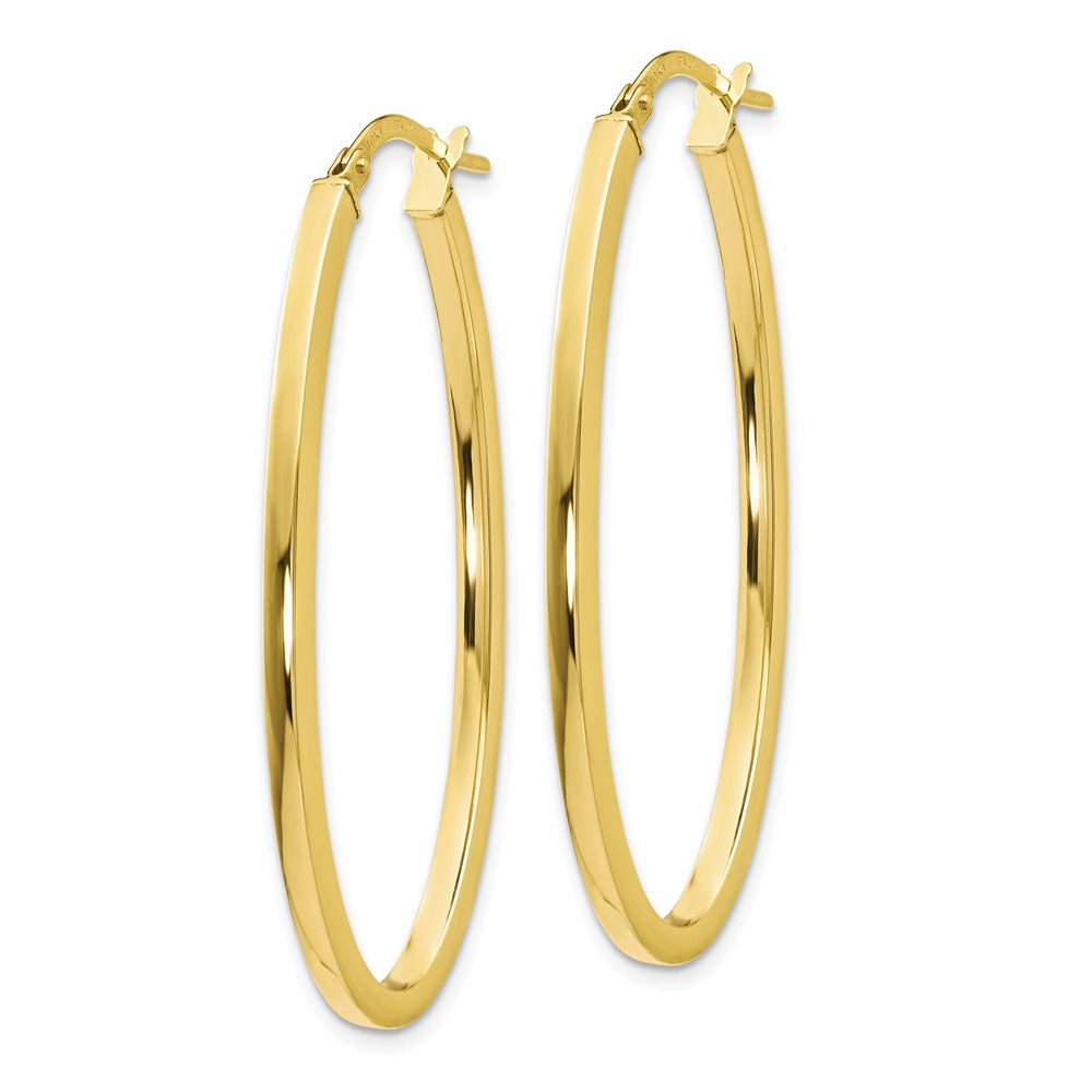 Alternate view of the 2mm Oval Hoop Earrings in 10k Yellow Gold, 41mm (1 5/8 Inch) by The Black Bow Jewelry Co.