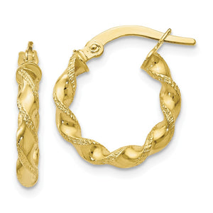 2.5mm 10k Yellow Gold Polished & Textured Twisted Hoops, 15mm - The Black Bow Jewelry Co.