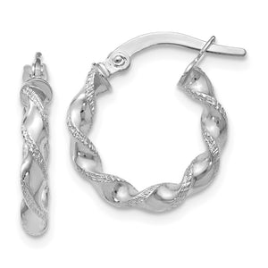 2.5mm 10k White Gold Polished & Textured Twisted Hoops, 15mm - The Black Bow Jewelry Co.