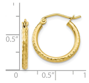 Alternate view of the 2mm 10k Yellow Gold Diamond Cut Round Hoop Earrings, 17mm (5/8 Inch) by The Black Bow Jewelry Co.