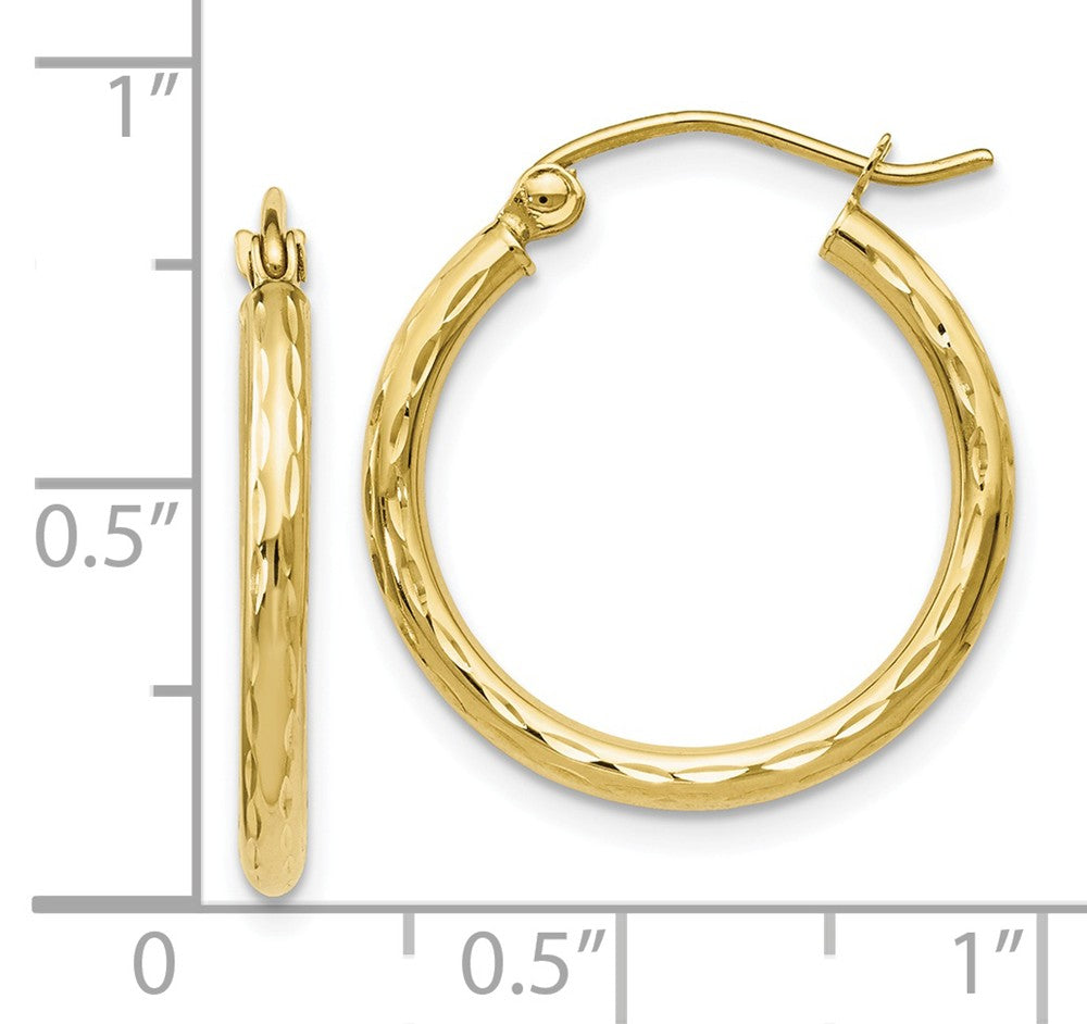 Alternate view of the 2mm 10k Yellow Gold Diamond Cut Round Hoop Earrings, 20mm (3/4 Inch) by The Black Bow Jewelry Co.