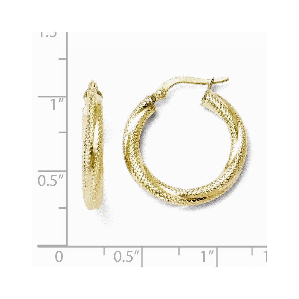 Alternate view of the 3mm Twisted Textured Round Hoops in 10k Yellow Gold, 20mm (3/4 Inch) by The Black Bow Jewelry Co.