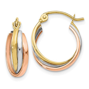 5mm Triple Crossover Hoops in 10k Tri-Color Gold, 14mm (9/16 Inch) - The Black Bow Jewelry Co.