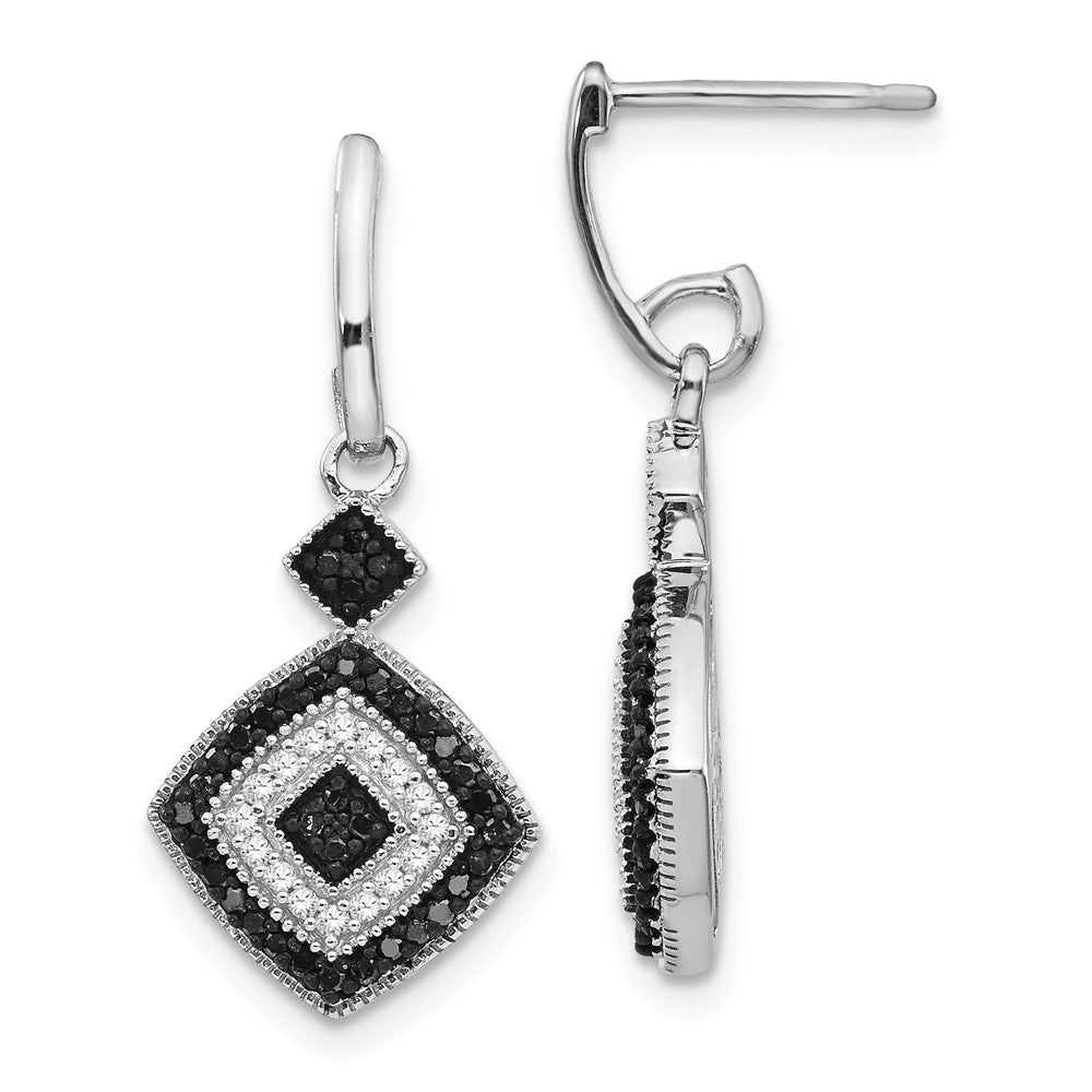 Black & White Diamond Rhombus Dangle Earrings in Sterling Silver, Item E12752 by The Black Bow Jewelry Co.