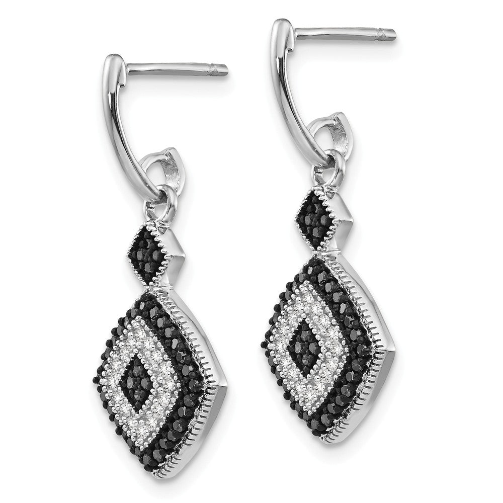 Alternate view of the Black & White Diamond Rhombus Dangle Earrings in Sterling Silver by The Black Bow Jewelry Co.