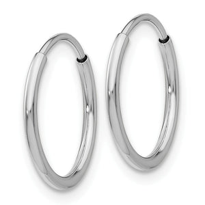 Alternate view of the 1.2mm x 14mm 14k White Gold Polished Endless Tube Hoop Earrings by The Black Bow Jewelry Co.