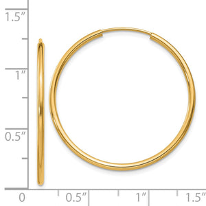 Alternate view of the 1.5mm x 30mm 14k Yellow Gold Polished Round Endless Hoop Earrings by The Black Bow Jewelry Co.