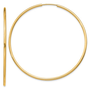 1.5mm x 52mm 14k Yellow Gold Polished Round Endless Hoop Earrings - The Black Bow Jewelry Co.
