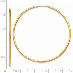 Alternate view of the 1.5mm x 52mm 14k Yellow Gold Polished Round Endless Hoop Earrings by The Black Bow Jewelry Co.