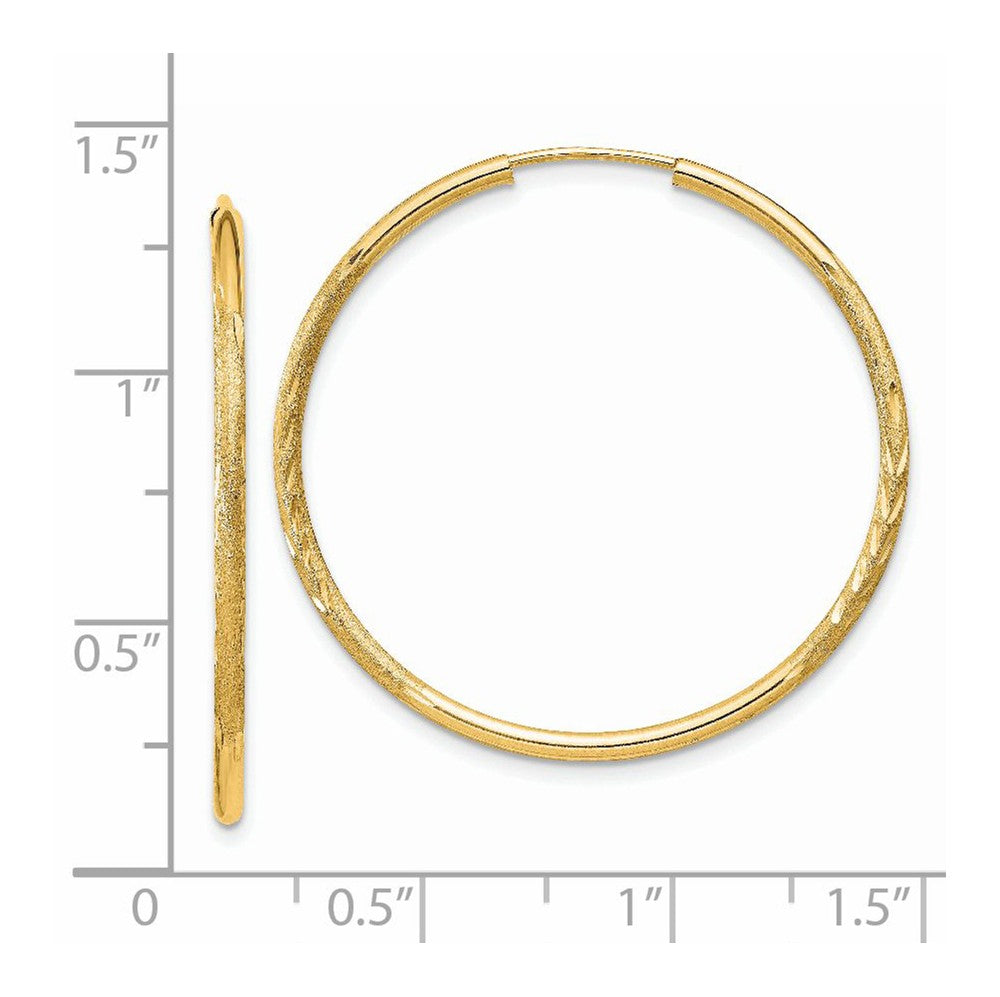Alternate view of the 1.5mm x 33mm 14k Yellow Gold Satin Diamond-Cut Endless Hoop Earrings by The Black Bow Jewelry Co.