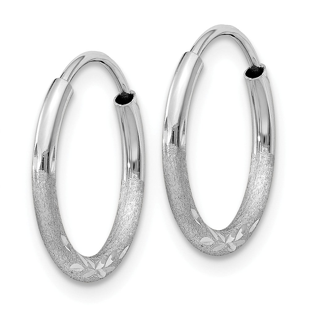 Alternate view of the 1.5mm x 15mm 14k White Gold Satin Diamond-Cut Endless Hoop Earrings by The Black Bow Jewelry Co.