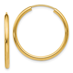 2mm x 26mm 14k Yellow Gold Polished Round Endless Hoop Earrings - The Black Bow Jewelry Co.