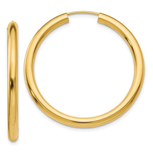 3mm x 35mm 14k Yellow Gold Polished Endless Tube Hoop Earrings - The Black Bow Jewelry Co.