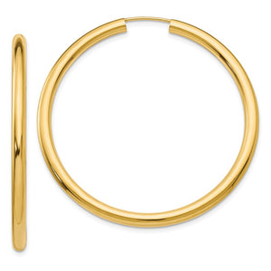 3mm x 45mm 14k Yellow Gold Polished Endless Tube Hoop Earrings - The Black Bow Jewelry Co.