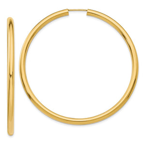 3mm x 55mm 14k Yellow Gold Polished Endless Tube Hoop Earrings - The Black Bow Jewelry Co.