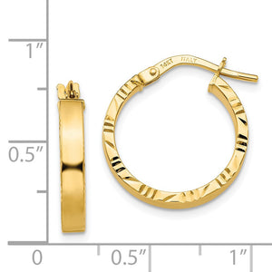Alternate view of the 3mm x 19mm 14k Yellow Gold Polished & D/C Edge Round Hoop Earrings by The Black Bow Jewelry Co.
