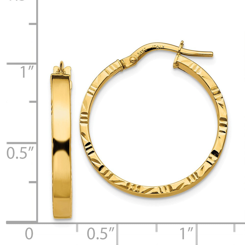 Alternate view of the 3mm x 25mm 14k Yellow Gold Polished & D/C Edge Round Hoop Earrings by The Black Bow Jewelry Co.