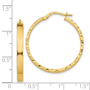 Alternate view of the 3mm x 30mm 14k Yellow Gold Polished & D/C Edge Round Hoop Earrings by The Black Bow Jewelry Co.
