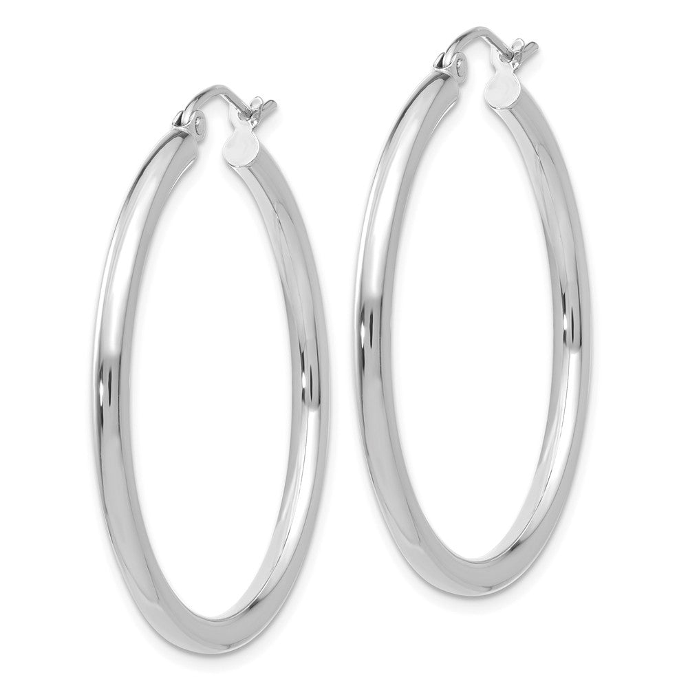 Alternate view of the 2.5mm x 35mm 14k White Gold Classic Round Hoop Earrings by The Black Bow Jewelry Co.