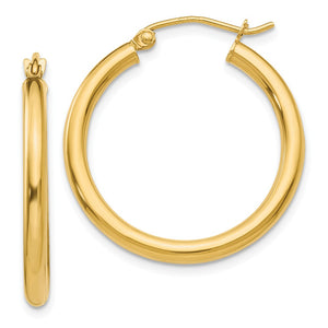 2.5mm x 25mm 14k Yellow Gold Classic Round Hoop Earrings