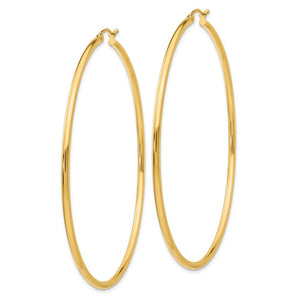 Alternate view of the 2.5mm x 65mm 14k Yellow Gold Classic Round Hoop Earrings by The Black Bow Jewelry Co.