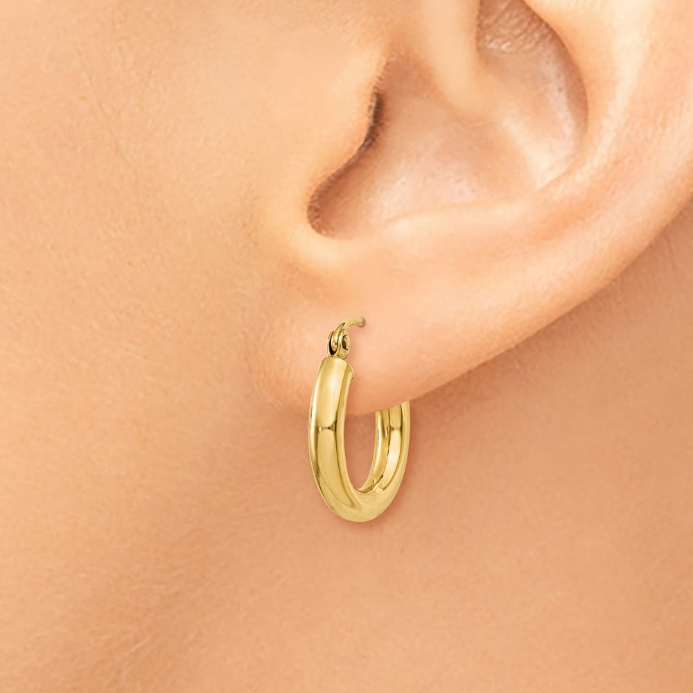 Alternate view of the 3mm x 15mm 14k Yellow Gold Classic Round Hoop Earrings by The Black Bow Jewelry Co.