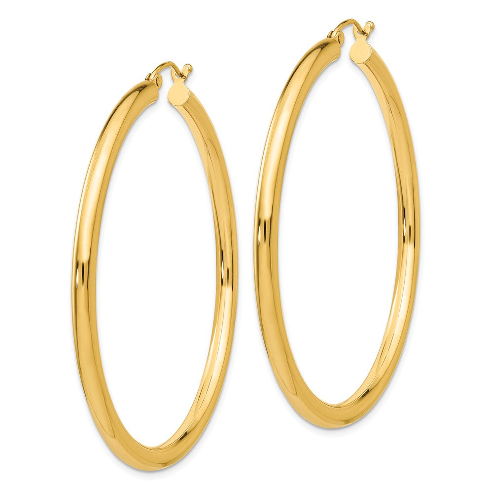 Alternate view of the 3mm x 50mm 14k Yellow Gold Classic Round Hoop Earrings by The Black Bow Jewelry Co.