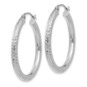 Alternate view of the 3mm x 30mm, 14k White Gold, Diamond-cut Round Hoop Earrings by The Black Bow Jewelry Co.