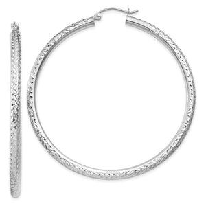 3mm x 55mm, 14k White Gold, Diamond-cut Round Hoop Earrings - The Black Bow Jewelry Co.