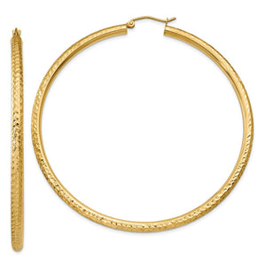 3mm x 65mm, 14k Yellow Gold, Diamond-cut Round Hoop Earrings - The Black Bow Jewelry Co.