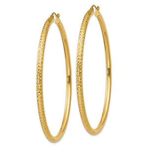Alternate view of the 3mm x 65mm, 14k Yellow Gold, Diamond-cut Round Hoop Earrings by The Black Bow Jewelry Co.